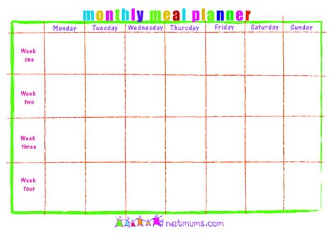 printable blank monthly menu planner 6 best images of free printable monthly planner calendar