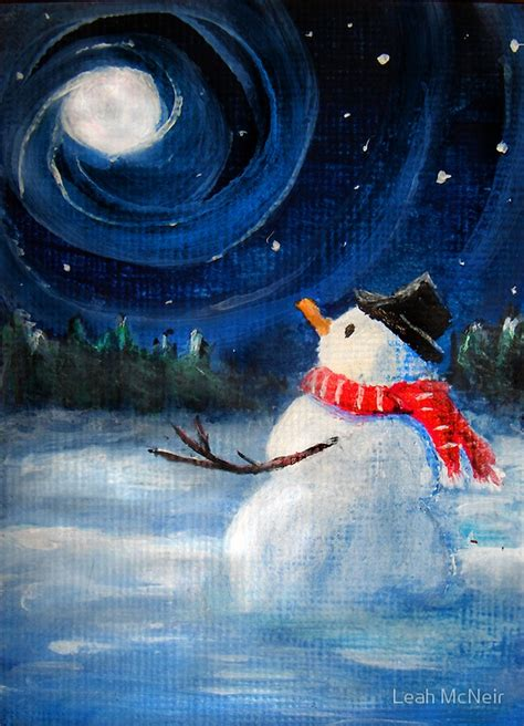 winter acrylic painting ideas quot snowman gazes at sky moon folk painting quot by
