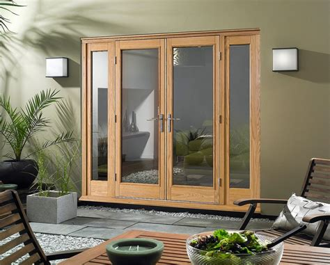 Oak Wood French Doors Patio Exterior Open Out With Side Exterior Windows And Doors