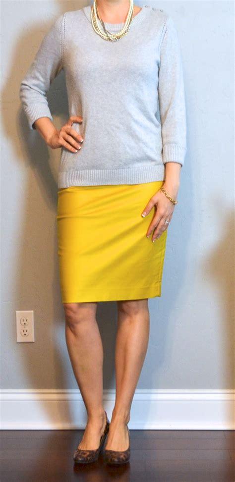 post grey sweater mustard pencil skirt leopard