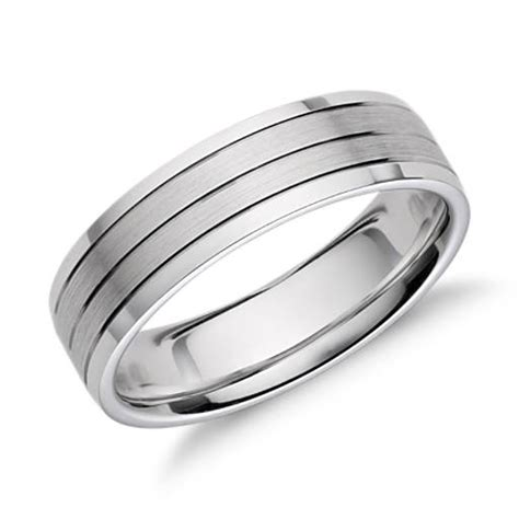 trio inlay wedding ring in 14k white gold 6mm blue nile
