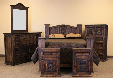 Rustic Bedroom Set - dallas designer furniture mansion with star rustic bedroom set in medio