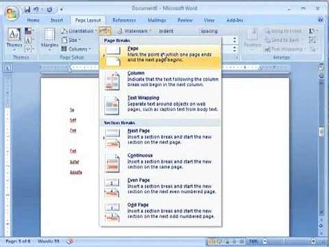 word layout changes word 2007 multiple page orientations youtube