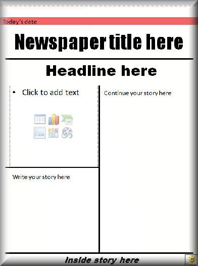 powerpoint newspaper front page template     students  complete  newspaper