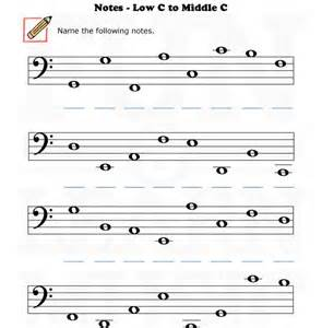 fun and learn music 187 music worksheets bass clef low c