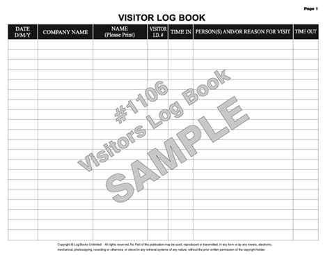 visitor log book template visitor log book 1106 log books unlimited 174 your