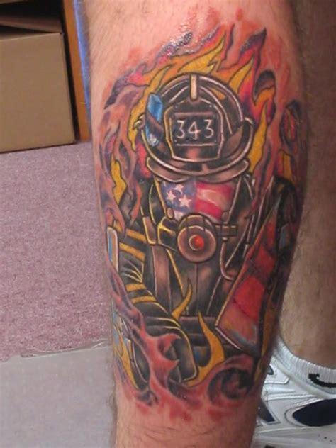 deja vu tattoo american firefighter 9 11 memorial calf shared