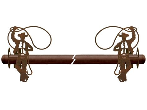 Cowboy Roping Metal Curtain Rod Holders Rustic Curtain