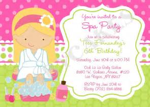 spa birthday invitation invite spa birthday by jcbabycakes