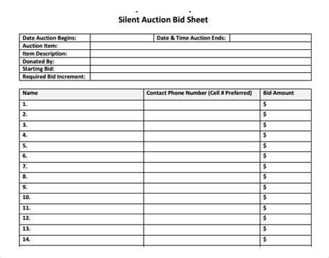 19 Sle Silent Auction Bid Sheet Templates To Download Sle Templates Auction Bid Sheet Template