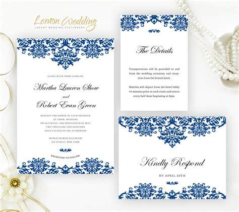 royal blue wedding invitation sets royal blue wedding invitation set printed on white shimmer