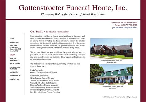 gottenstroeter funeral home staff