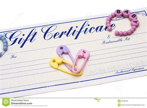 Baby Gift Certificate Stock Image Image Of Shower Shop 4842453 Baby Shower Gift Certificate Template