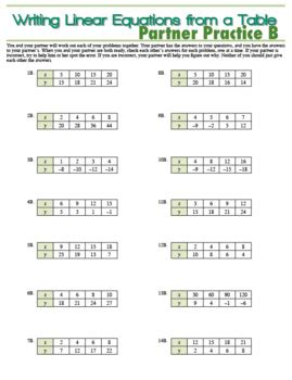 writing linear equations from a table partner practice writing linear equations from a table tpt