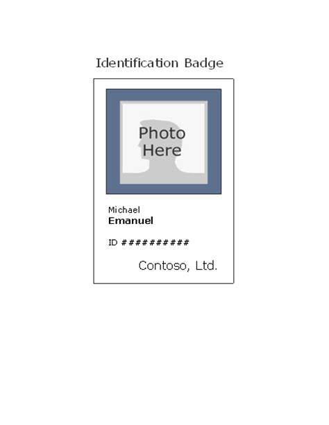 work id card template free employee id badge portrait