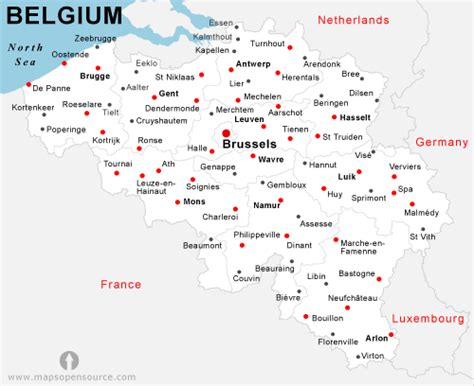 map of germany and belgium with cities belgien karte st 228 dte