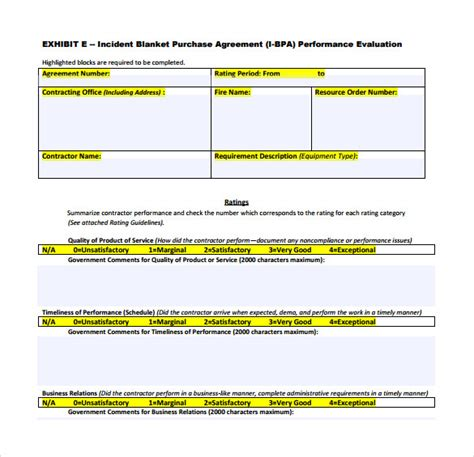 blanket purchase order agreement template blanket purchase agreement templates 8 free