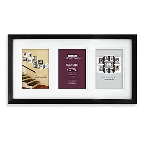 bed bath and beyond picture frames plastic 3 opening 5 inch x 7 inch picture frame in black