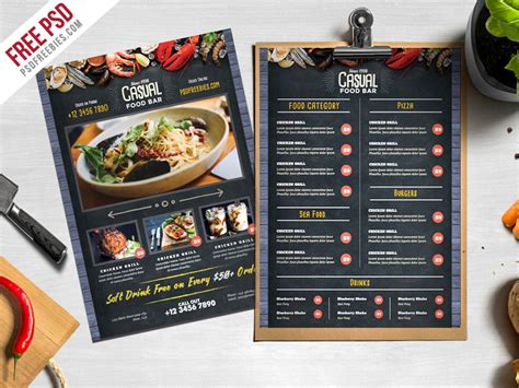 menu psd template free chalkboard style food menu psd template psdfreebies
