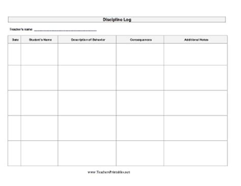 Discipline Log Student Behavior Log Template Pdf