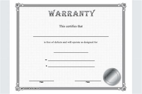 warranty certificate template sle templates