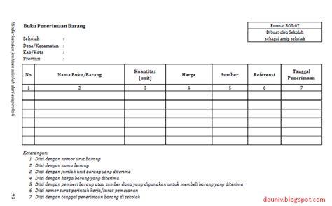 format buku pembelian barang pencatatan barang inventaris sumber dana bos pusat deuniv