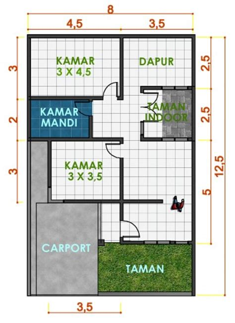 ide denah rumah kecil  lantai klik arsitek