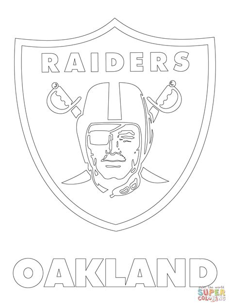 Oakland Raiders Coloring Pages oakland raiders logo coloring page free printable