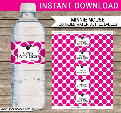 Minnie Mouse Party Water Bottle Labels Minnie Mouse Theme Diy Water Bottle Label Template