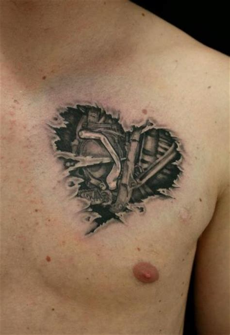 biomechanical heart tattoo engine biomechanical by skin best