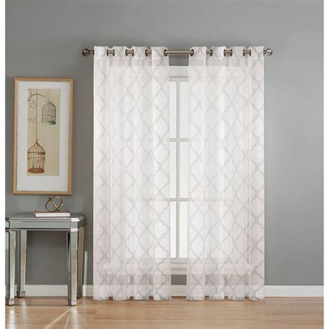Sheer Grommet Curtains Window Elements Sheer Lattice Cotton Blend Burnout Sheer 84 In L Grommet Curtain Panel Pair
