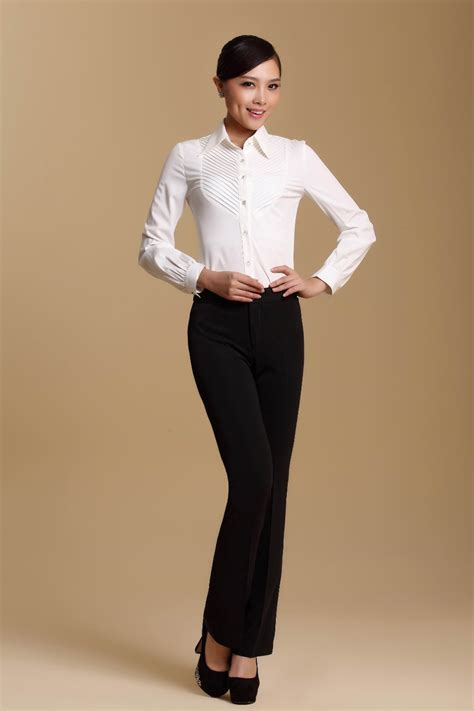 black and white shirt to wear with pants 2014 new fashion office lady sets white shirt black