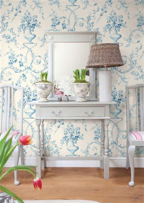 light blue floral urn wallpaper traditional bedroom