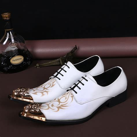 grain leather wedding shoes formal shoes metal