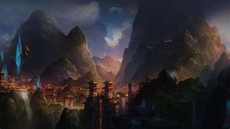 af mountain art illust china anime peaceful papersco