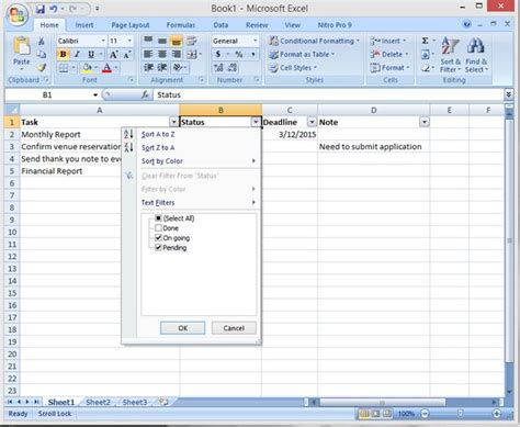 create a create a simple effective to do list using excel filter