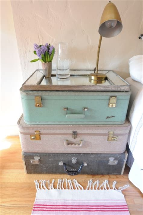 cupcakes and cashmere bedroom stacked suitcases nightstand vintage bedroom