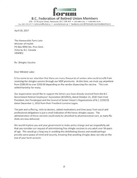 Immunization Cover Letter by Letter To Health Minister About Shingles Vaccine For Seniors April 2017