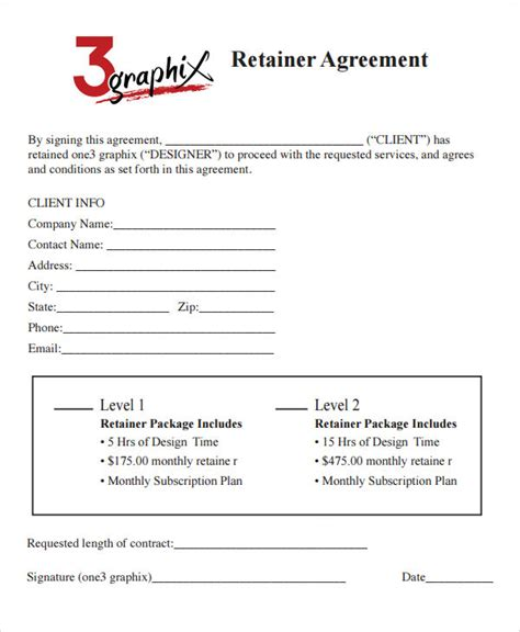 Retainer Agreement Template by Sle Retainer Agreement Template Ideasplataforma