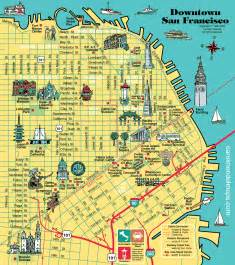 Maps Of San Francisco map of downtown san francisco with pictorial illustrations