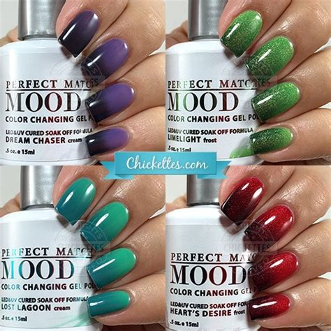 color and mood free lechat perfect match mood color lechat perfect match mood gel polish swatches chickettes