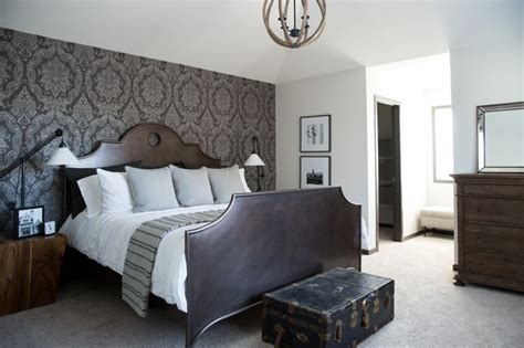 bedroom wallpaper feature wall ideas damask master bedroom feature wall traditional bedroom