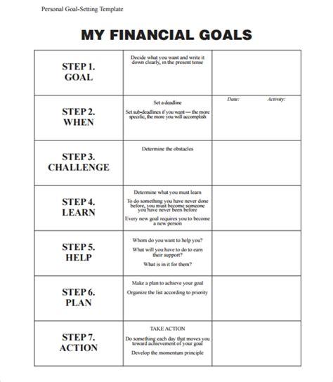9 Goal Planning Templates Sle Templates Business Goals Template