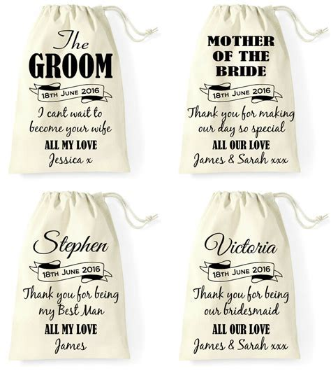 Personalised Wedding Day Gift Bag Groom Bride Best Man
