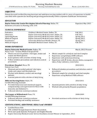 resume template for nursing assistant nursing aid resume