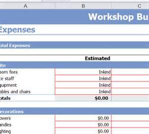 free workshop budget template