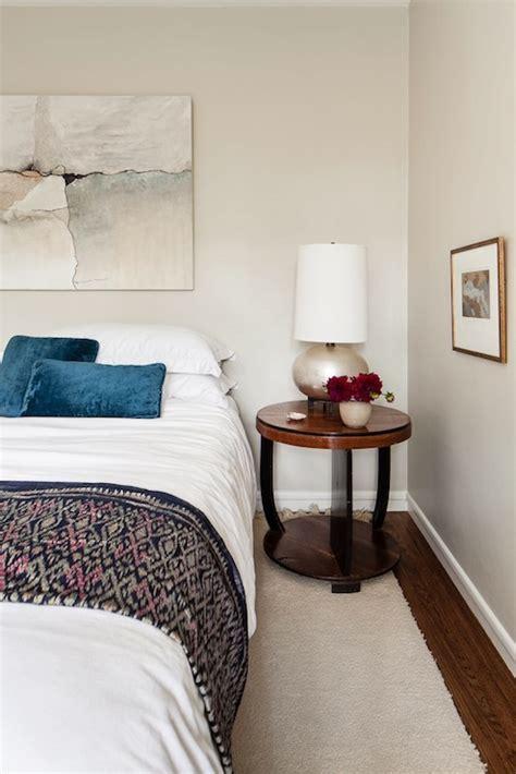 peacock blue pillow eclectic bedroom benjamin moore hazy skies cheryl burke interior design