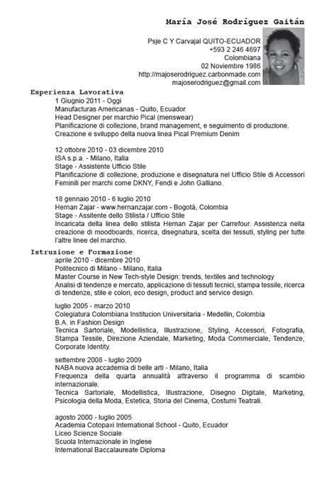 curriculum vitae en italiano majose rodriguez cv italiano