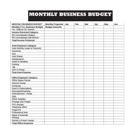 monthly business budget and expense sheet template sle