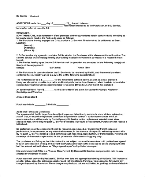 10 Dj Contract Sles Sle Templates Dj Service Contract Template